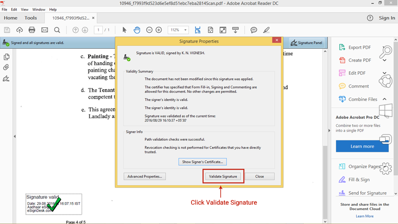Step 10 for esign validation